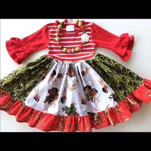Other - Disney Moana dress necklace set red stripe size 6